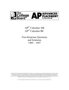 Free-Response Questions and Solutions 1989 – 1997