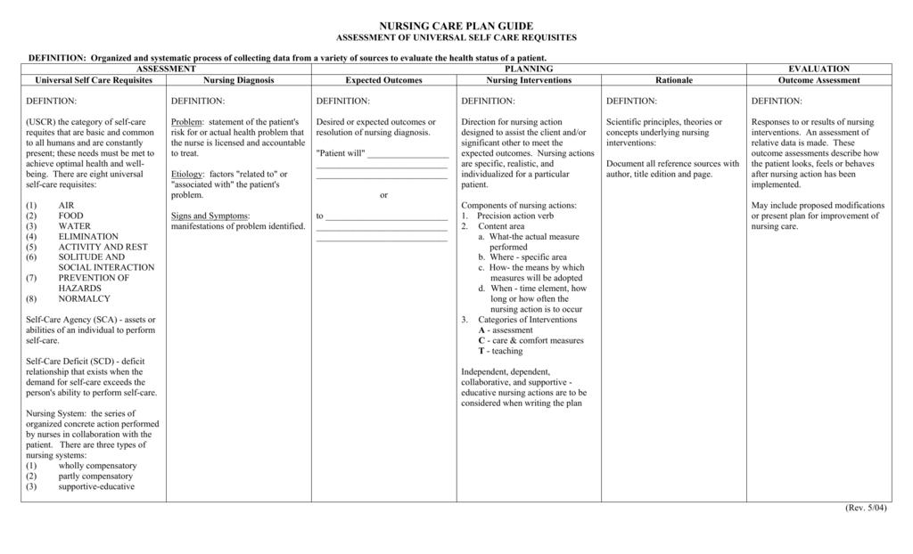 self care plan templates