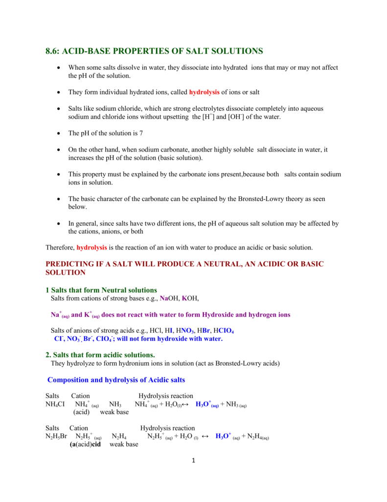 8.6: ACID-BASE PROPERTIES OF SALT SOLUTIONS