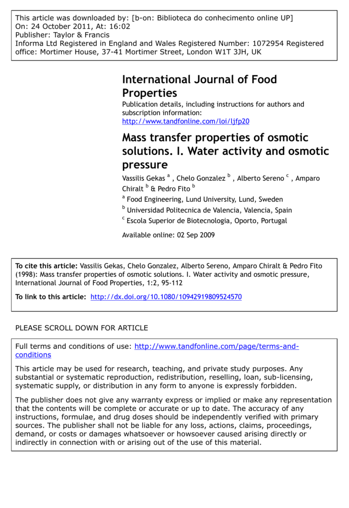 Mass Transfer Properties Of Osmotic Solutions I Water Activity And