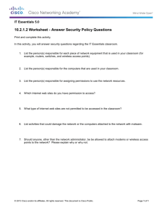 10.2.1.2 Worksheet - Answer Security Policy