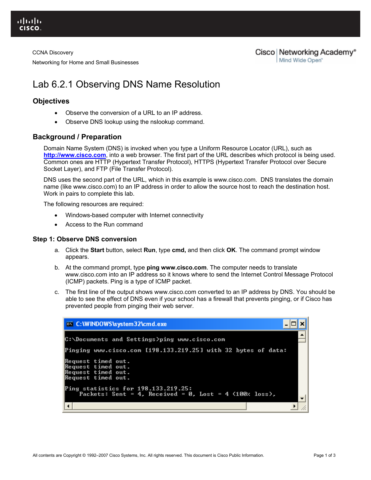 Lab 6 2 1 Observing DNS Name Resolution