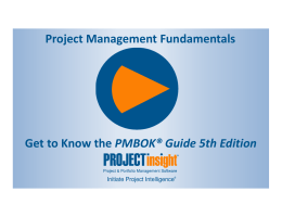 Get to Know the PMBOK® Guide 5th Edition