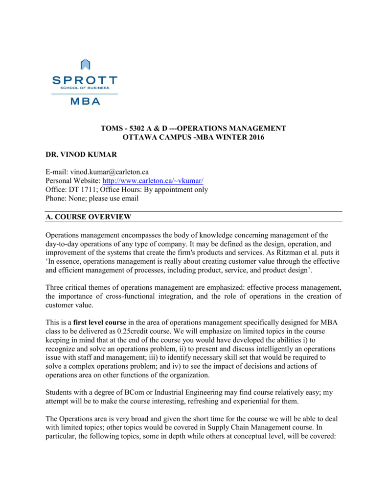 Operations Management - Sprott School of Business