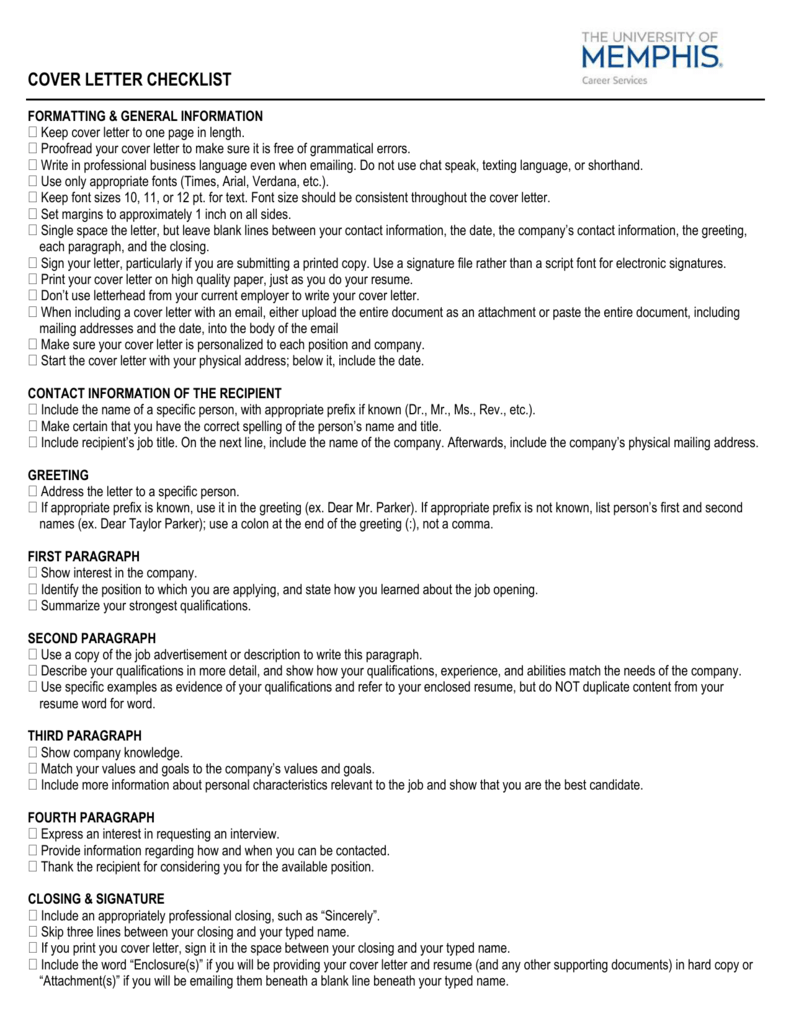 Cover Letter Checklist University Of Memphis