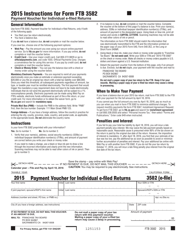 2015 Instructions for Form FTB 3582