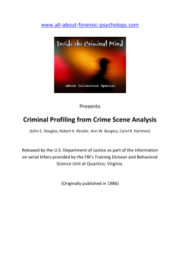 the criminal profiling that caught the imagination of the public through media forms The public (and media) response to the implementation of a camera-based system for monitoring vehicles highlights several problems with the criminal justice 'techno-fix.