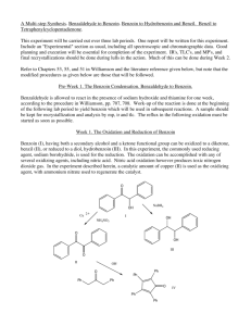 A Multi-step Synthesis. Benzaldehyde to Benzoin....On the