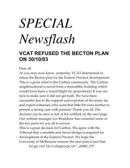 SPECIAL Newsflash - Carlton Residents Association