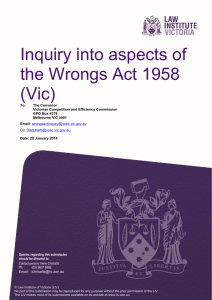 Inquiry into aspects of the Wrongs Act 1958 (Vic)