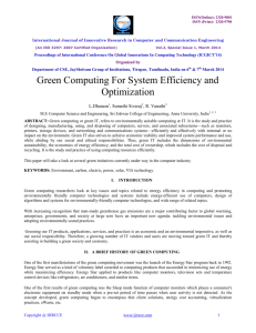Green Computing For System Efficiency and Optimization
