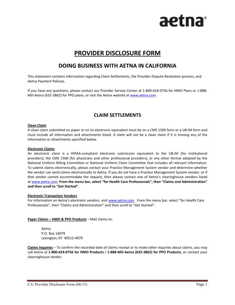 Provider Disclosure Form