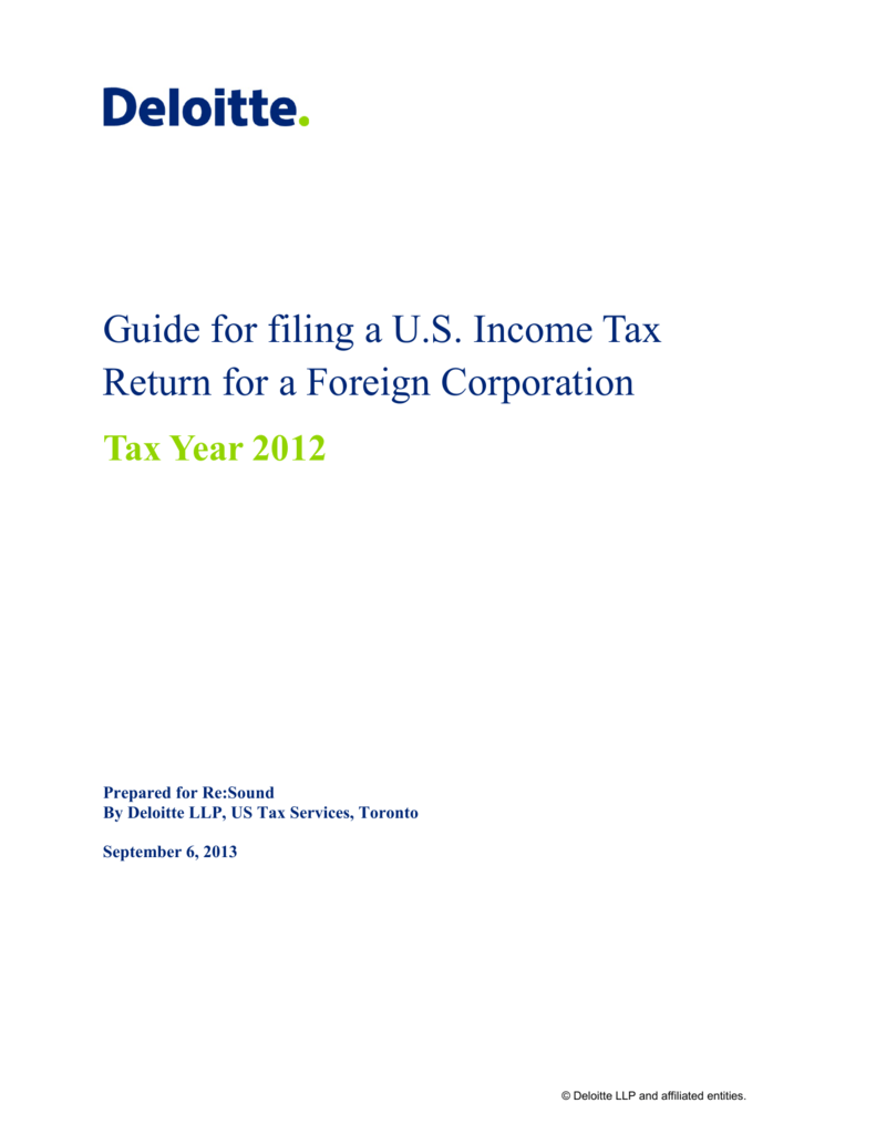 Guide for filing a U.S. Income Tax Return for a Foreign Corporation
