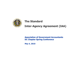 The Standard Inter-Agency Agreement (IAA)