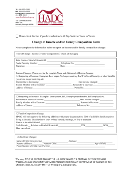 Change of Income and/or Family Composition Form