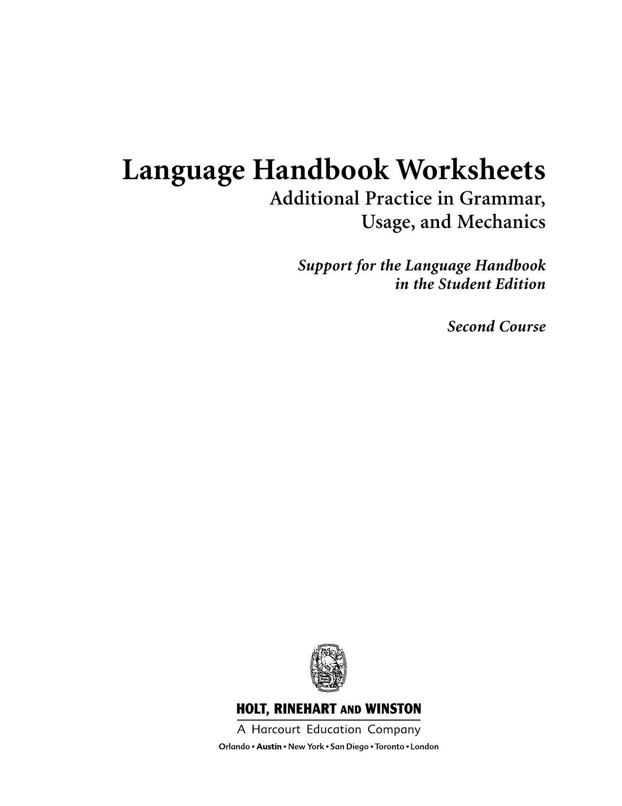 Worksheets Language Handbook Worksheets Answer Key Online language handbook worksheets
