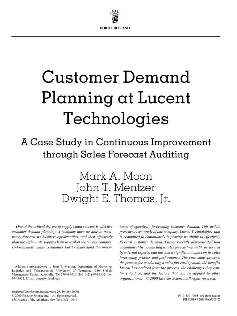 Customer Demand Planning at Lucent Technologies: A Case Study