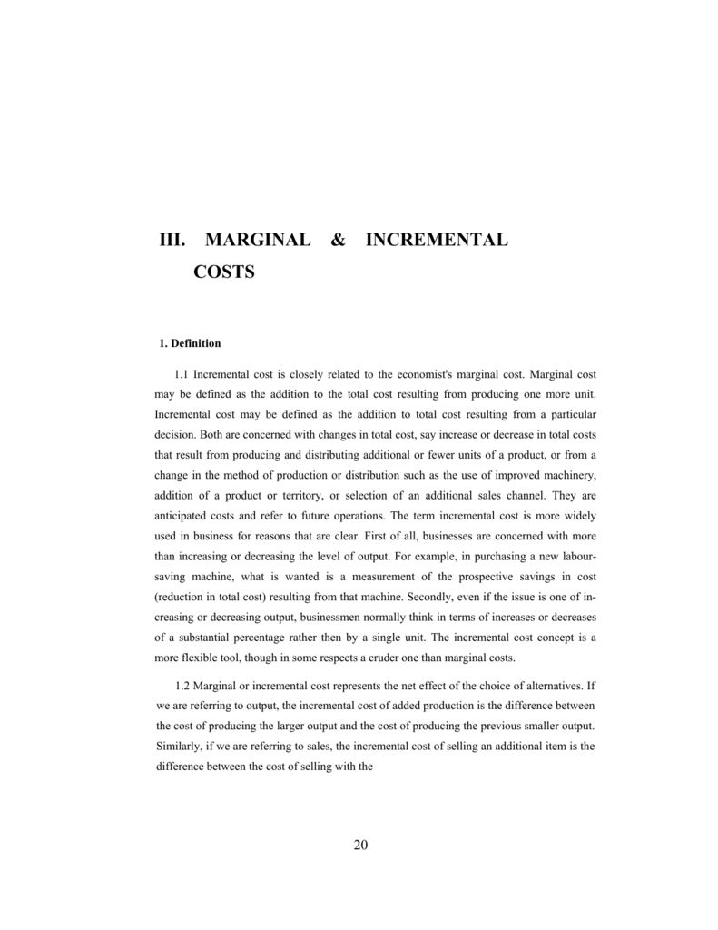 marginal cost and incremental cost
