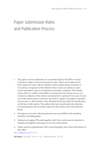 Paper Submission Rules and Publication Process
