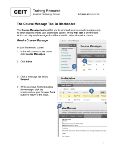 The Course Message Tool in Blackboard