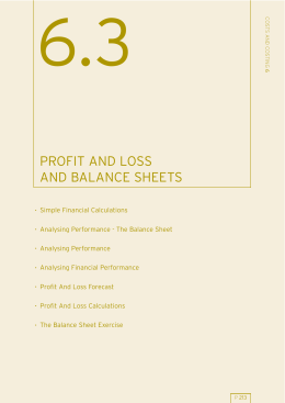 profit and loss and balance sheets