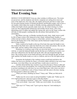 That evening sun by william faulkner essay