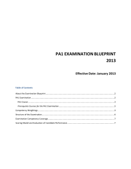 CGA-Canada PA1 Examination Blueprint