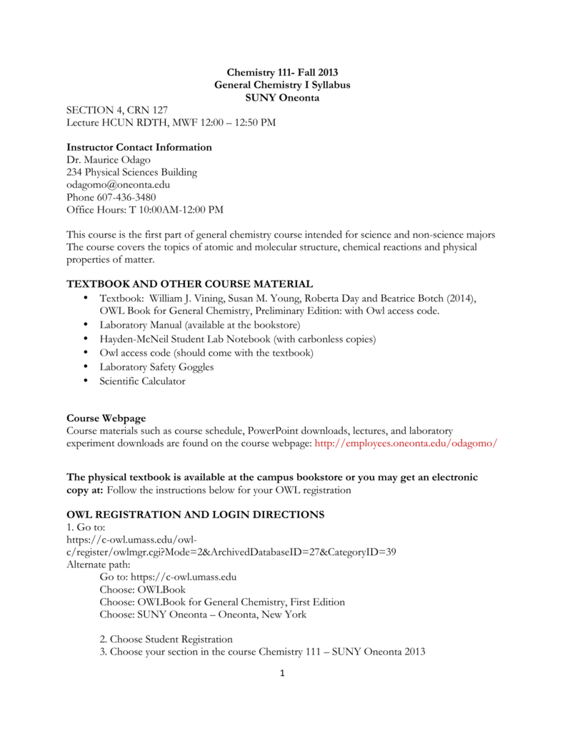 Chemistry 111- Fall 2013 General Chemistry I Syllabus SUNY