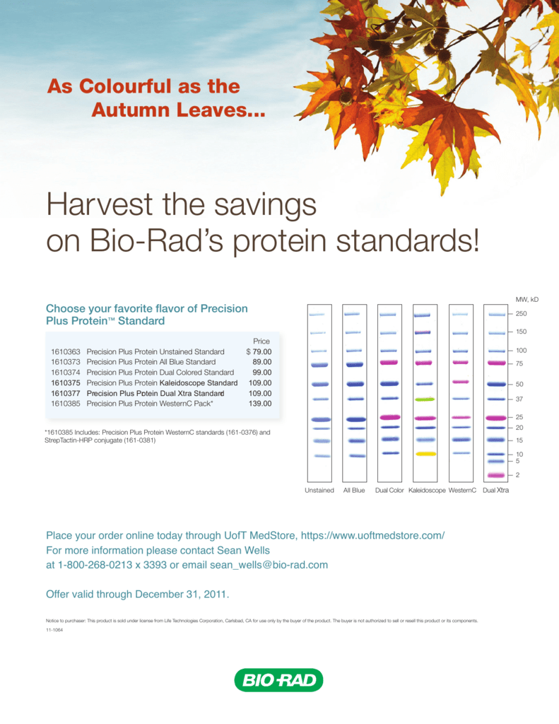 Harvest The Savings On Bio Rads Protein Standards Choose Your
