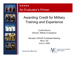 Awarding Credit for Military Training and Experience