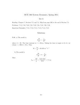 MCE 366 System Dynamics, Spring 2011 Set 8 Solutions