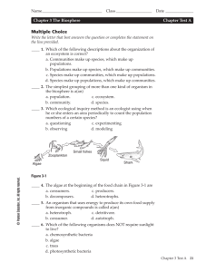 Chapter 3 (The Biosphere) Test A