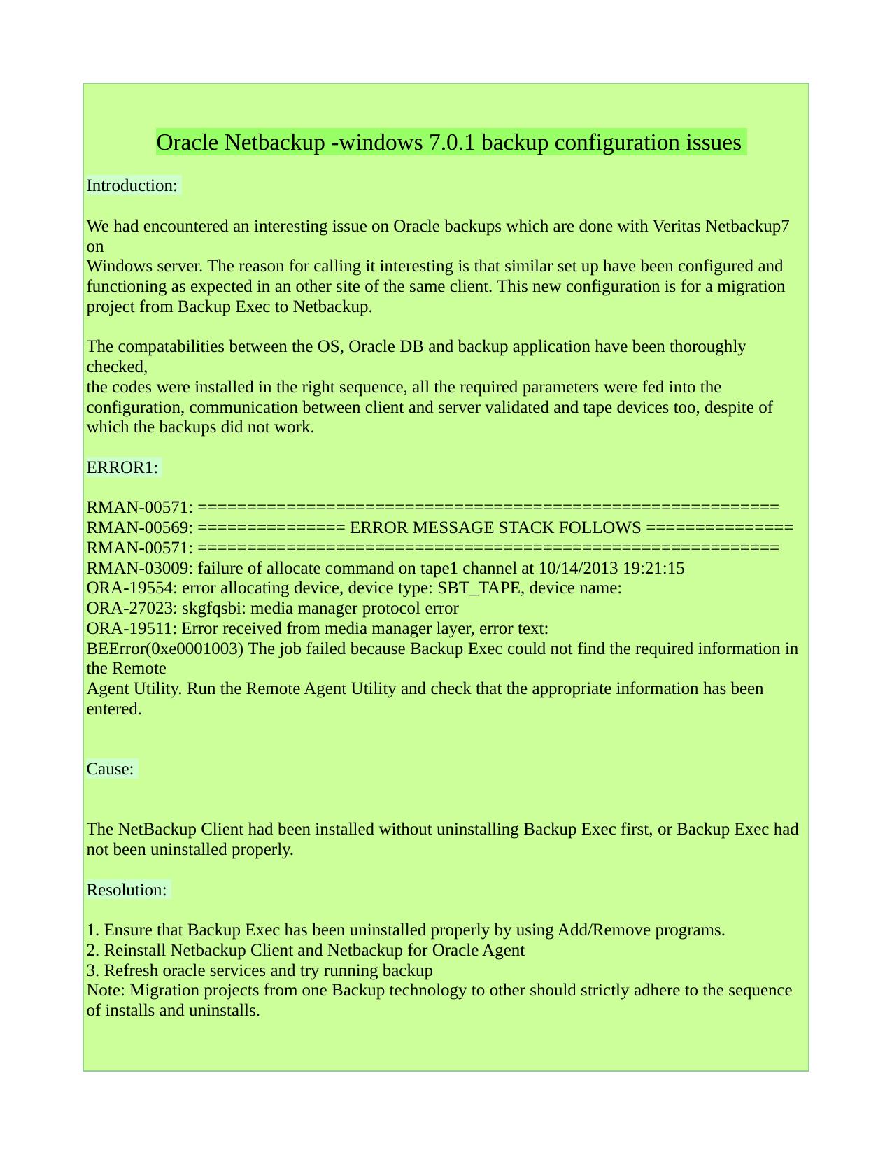 Oracle Netbackup -windows 7 0 1 backup configuration