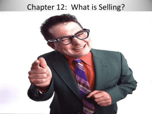 Chapter 12: What is Selling?