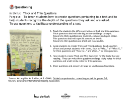 Activity: Thick and Thin Questions Purpose: To teach students how