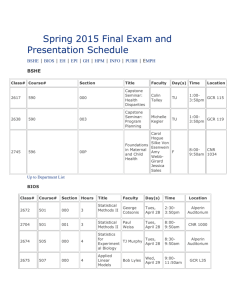 Spring 2015 Final Exam and Presentation Schedule