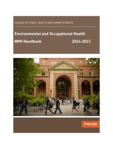 Environmental and Occupational Health MPH Handbook 2014-2015