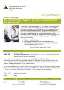 The Institute of Internal Auditors – UK and Ireland
