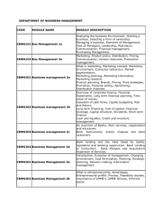 DEPARTMENT OF BUSINESS MANAGEMENT CODE MODULE