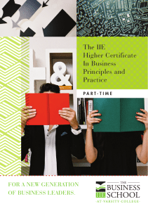 The IIE Higher Certificate In Business Principles and Practice