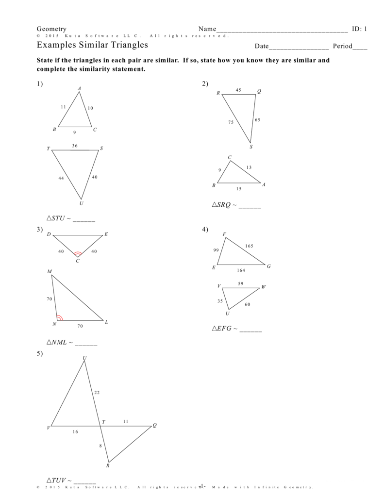 Infinite Geometry Examples Similar Triangles