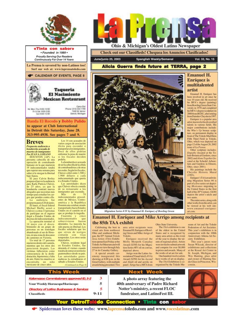 June 25, 2003 - Laprensa Newspaper