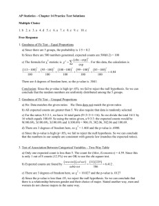 AP Statistics – Chapter 14 Practice Test Solutions