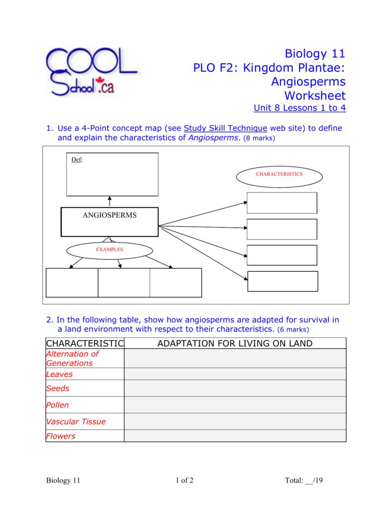 Plantae WebQuest Worksheet for 6th - 8th Grade   Lesson Planet