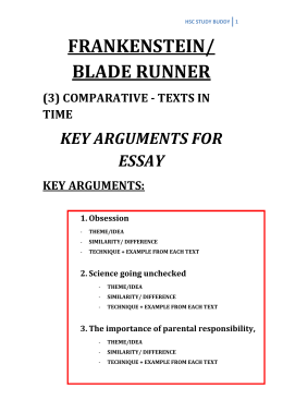 frankensteinbladerunner comparative essay Hsc essay for advanced english comparative study: texts in time: frankenstein & blade runner thinkswap satisfaction guarantee each document purchased on thinkswap is covered by our satisfaction guarantee policy.