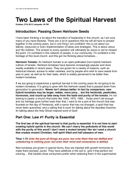 Two Laws of the Spiritual Harvest