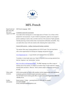 OCR French Language - GCSE Controlled coursework assessments