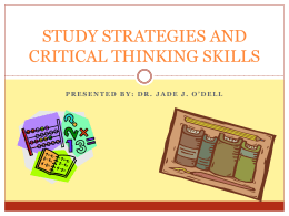 Study Strategies and Critical Thinking Skills PowerPoint