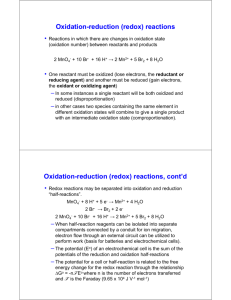 Oxidation-reduction (redox) reactions Oxidation
