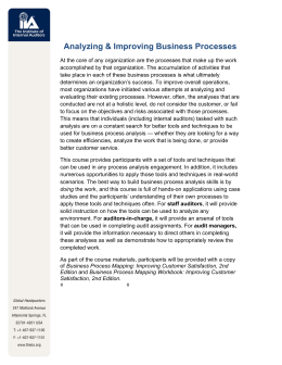 Analyzing & Improving Business Processes